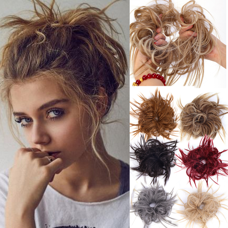 AOSI Messy Scrunchie Chignon Natural Fake Hair Extension Straight Bun Elastic Band Updo False Hairpiece Synthetic For Girl Women