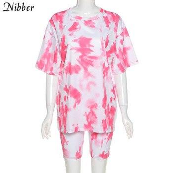 Футболка Nibber Женская неоновая с принтом, комплект из 2 предметов, свободная длинная футболка, короткий повседневный уличный костюм, топ и шорты
