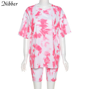 Nibber neon tie-dye graphic top Tees shorts women 2two piece sets summer loose Long T-shirt short casual street wear suit female
