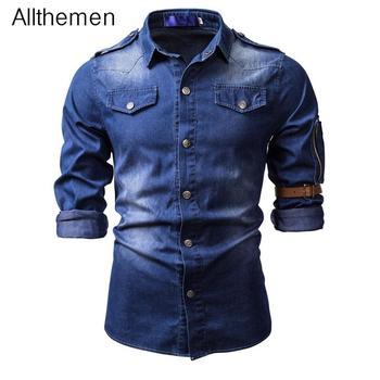 Allthemen Men's Denim Long Sleeve Shirt Style Cowboy Jean Shirt Solid   Men Casual Slim Fit Shirts Masculine Outwear wrangler men s tall george strait cowboy cut slim fit jean