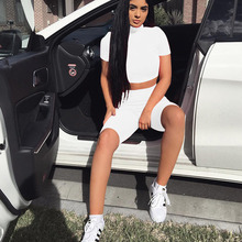 Two Piece Set New Sexy round Neck Two-piece Suit Nightclub Slim Fit Short Sleeve High Waist Shorts Suit Tracksuit Women Clothes active round neck drawstring waist tracksuit in beige