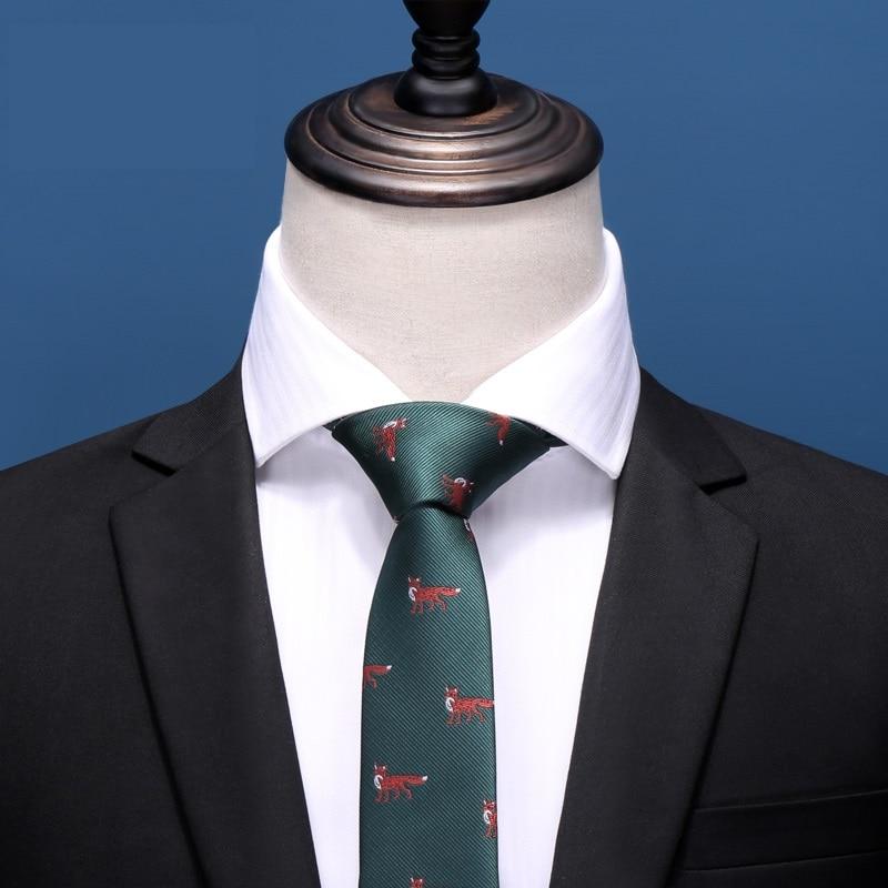 2020 Brand New Fashion High Quality Men 5CM Slim Dark Green Fox Pattern Necktie Formal Suit Party Neck Tie For Men With Gift Box