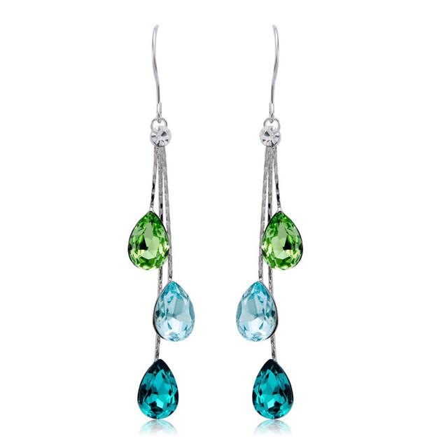 Elegant Charm Earrings for Women With 3pcs Water Drop Fashion Crystal Long Tassel Dangle Earrings Wedding Jewelry
