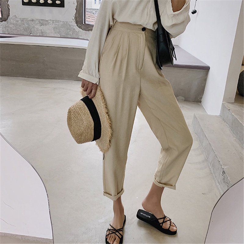 HziriP Summer All Match Cotton Linen Thin Plus Size 2020 New Loose Solid Leisure Pants Women Plus Size High Waist Harem Trousers