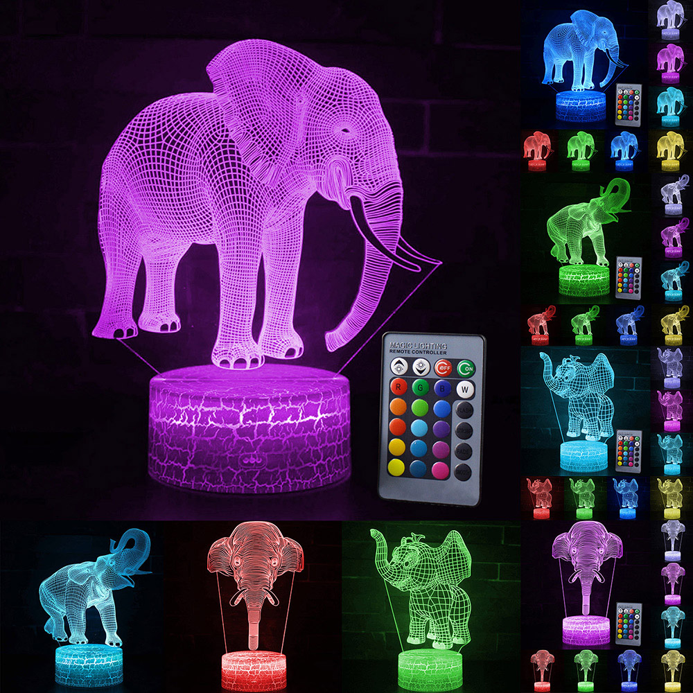 Touch Led Lamp 3D Night Light Elephant Series 7/16Color Change LED Table Desk Lamp Kids Christma Gift Home Decoration D30