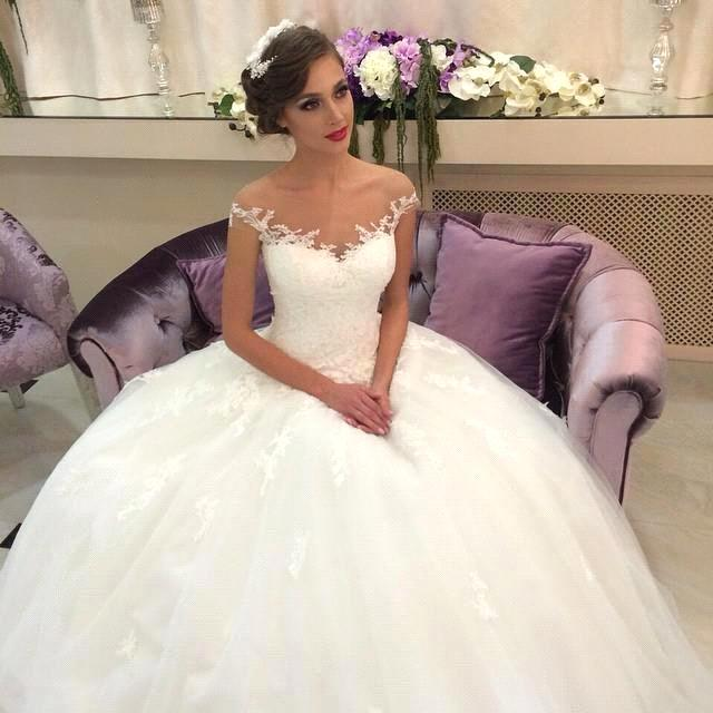 Vestido De Noiva Cap Sleeve Ball Gown Lace 2018 Bridal Gown Vestido Noiva Casamento Mother Of The Bride Dresses