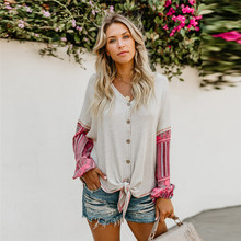 Fashion casual loose V-neck long-sleeved printed chiffon Knit stitching sweater white womens lace up Shirt Tops dropshipping