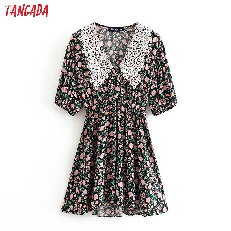 Tangada Fashion Women Flowers Print Mini Dress Lace Patchwork Collar Short Sleeve Ladies Vintage Short Dress Vestidos 3H414