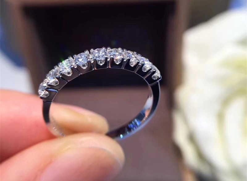 Yanhui ファッション女性ラウンドクリスタルジルコンリング高級オリジナル 925 シルバー愛婚約指輪ヴィンテージの結婚指輪