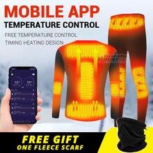 Winter Heated Underwear Suit Smart Phone APP Control Temperature USB Battery Powered Fleece Thermal Moto Men Motorcycle Jacket