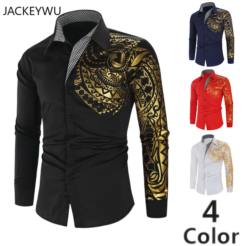 Brand Printed Shirt Men 2019 Autumn Fashion Hot Stamping Dragon Long Sleeve Casual Shirts Hip Hop Streetwear Camisa Masculina