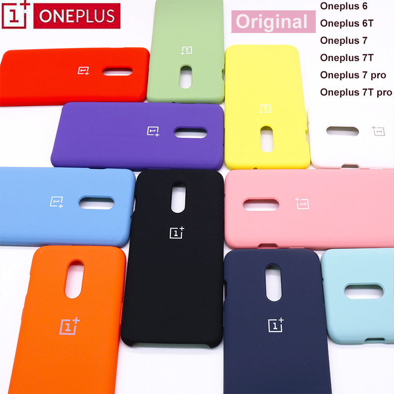 Oneplus 6 6t 7 caso original oficial silicone ultra fino à prova de choque capa protetora completa oneplus um plus 7t pro caso