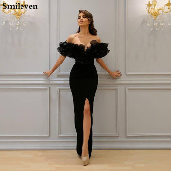 Smileven Black Ruffles Mermaid Evening Gown High Split  Arab Prom Dresses Off The Shoulder Evening Party Gowns Robe De Soire african silver high neck mermaid prom dresses ruffles rose flower prom gowns robe de bal backless party dresses evening wear for
