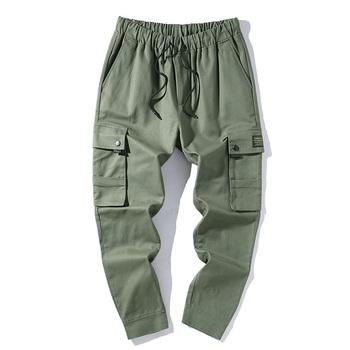 Modne męskie spodnie bojówki joggersy Hip hopowe spodnie Cargo spodnie haremki męskie multi-pocket męskie spodnie dresowe Streetwear Casual męskie spodnie tanie i dobre opinie MISNIKI Harem spodnie Plisowana Poliester COTTON NONE REGULAR Pełnej długości ABZ641 High Street Midweight Suknem Kostki długości spodnie
