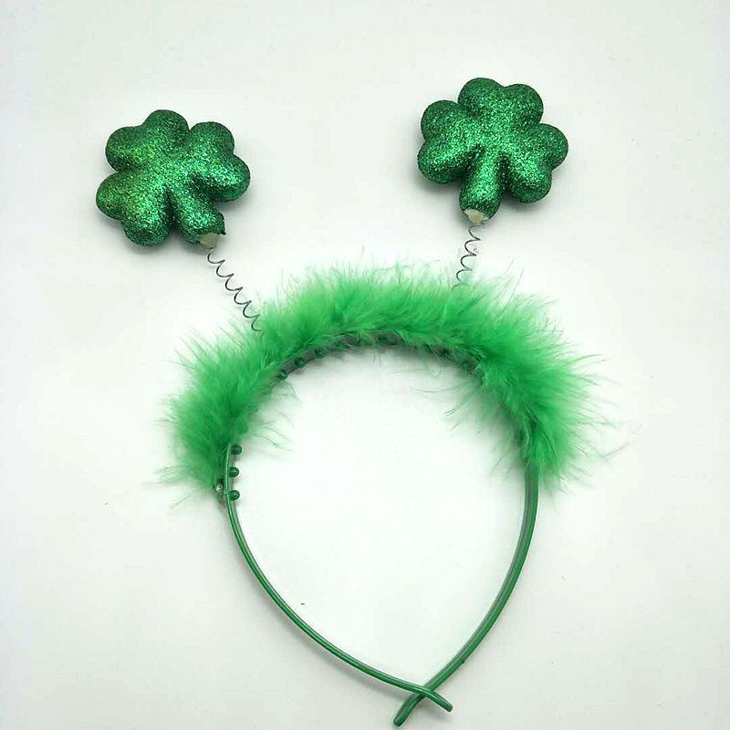 Hot Sales St. Patrick's Day Irish Festival Accessories Green Hat Feather Headband Clover Foam Head Buckle