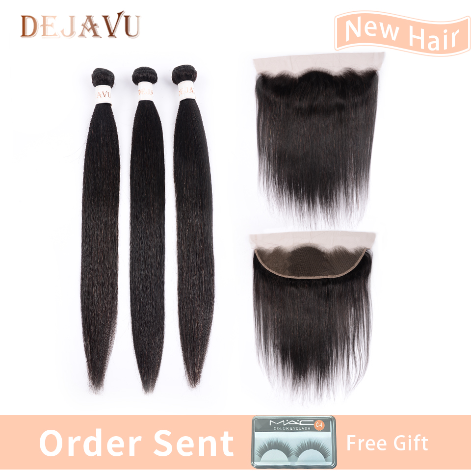 Dejavu  Hair Free Return 13*4 Frontal With 3 Bundles Indian Straight 100% Human Hair Bundles With Frontal Non Remy