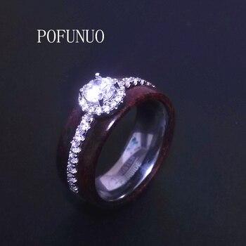 POFUNUO-Conjunto de anillos de titanio y cristal para mujer, sortijas de compromiso,...