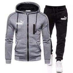 2021 New Fashion Men's Brand Sportswear Track Suit 2-piece Set Thickened Fleece Men's Hoodie + Pants Suit Male Streetwear Jacket