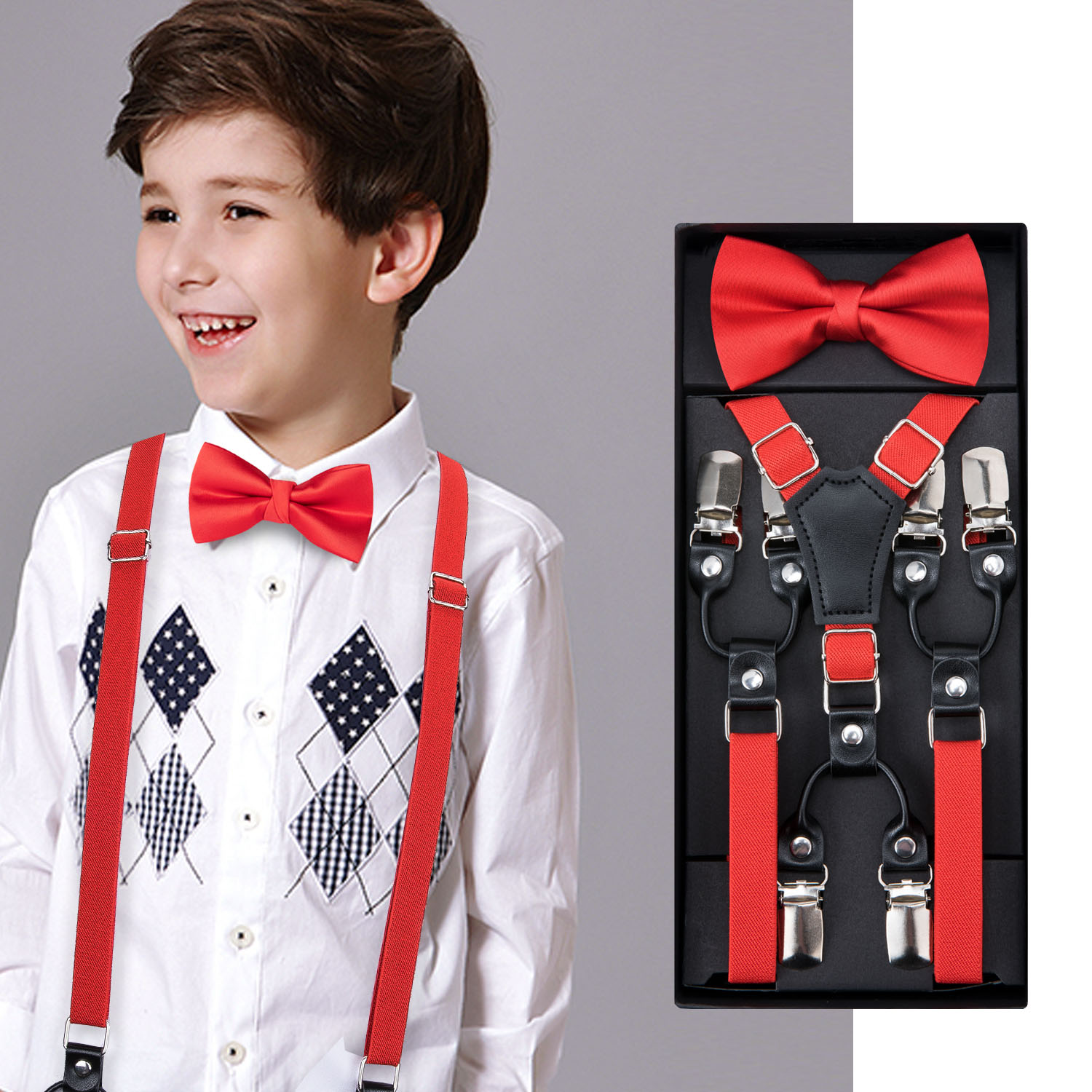 Kids Suspenders Set Boys Girls Wedding Red Bow Tie Elastic Suspender Sets Children Adjustable Y-Back Brace Belt DH-014 DiBanGu