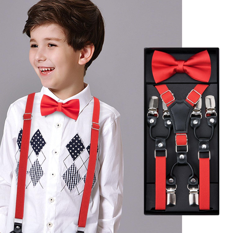 Boy Kids Satin Solid Bowtie Stretch Necktie Elastic Y-Back Braces Suspender Set