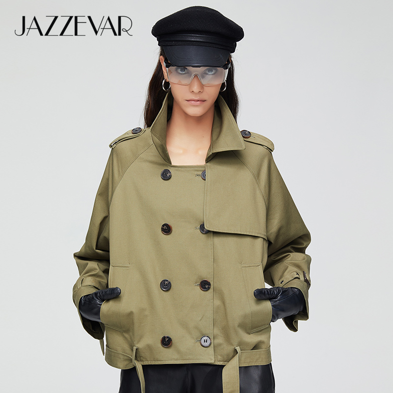 JAZZEVAR 2019 New Arrival Autumn Trench Coat Women Fashion Cotton Double Breasted Short Loose Clothing Outerwear 9018