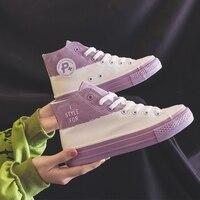 Femmes toile chaussures 2020 nouveau printemps baskets filles chaussures décontractées d'étudiants formateurs Skateboard chaussures couleurs mélangées haut 35-40