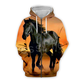 Tessffel Animal Horse art Unisex Colorful Casual Tracksuit Harajuku 3DfullPrint Zipper/Hoodies/Sweatshirt/Jacket/Mens Womens s20 1