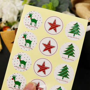 Image 4 - 108pcs Christmas Tree Seal Sticker Merry Christmas Deer Elk Star Paper Stickers Self Adhesive Paper Label Baking Gift Stickers