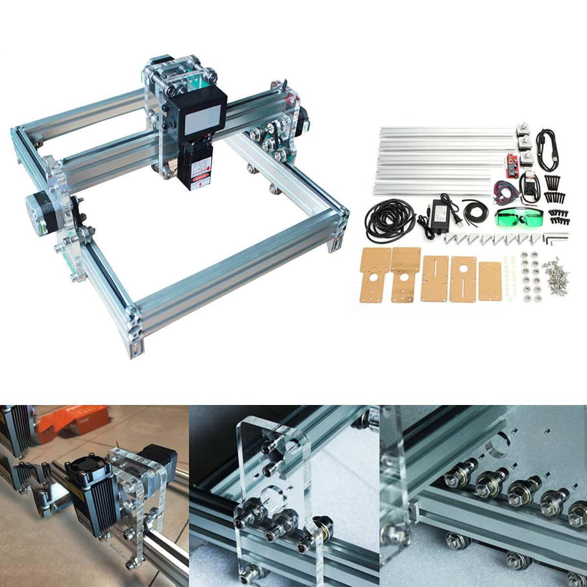 New 32x23cm 500mW DIY Desktop Mini CNC Carving Laser Engraving Engraver Machine DC 12V Wood Cutter/Printer Kit + Laser Goggles