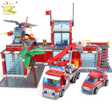 Huiqibao Blokken Speelgoed 774 Pcs Fire Station Model Bouwstenen Stad Bouw Brandweerman Truck Educatief Bricks Speelgoed Kind(China)