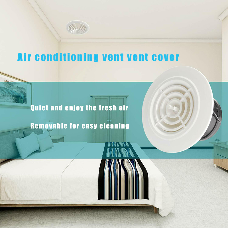 Round Air Vent ABS Louver Grille Cover Adjustable Exhaust Vent For Bathroom Office Ventilation C66