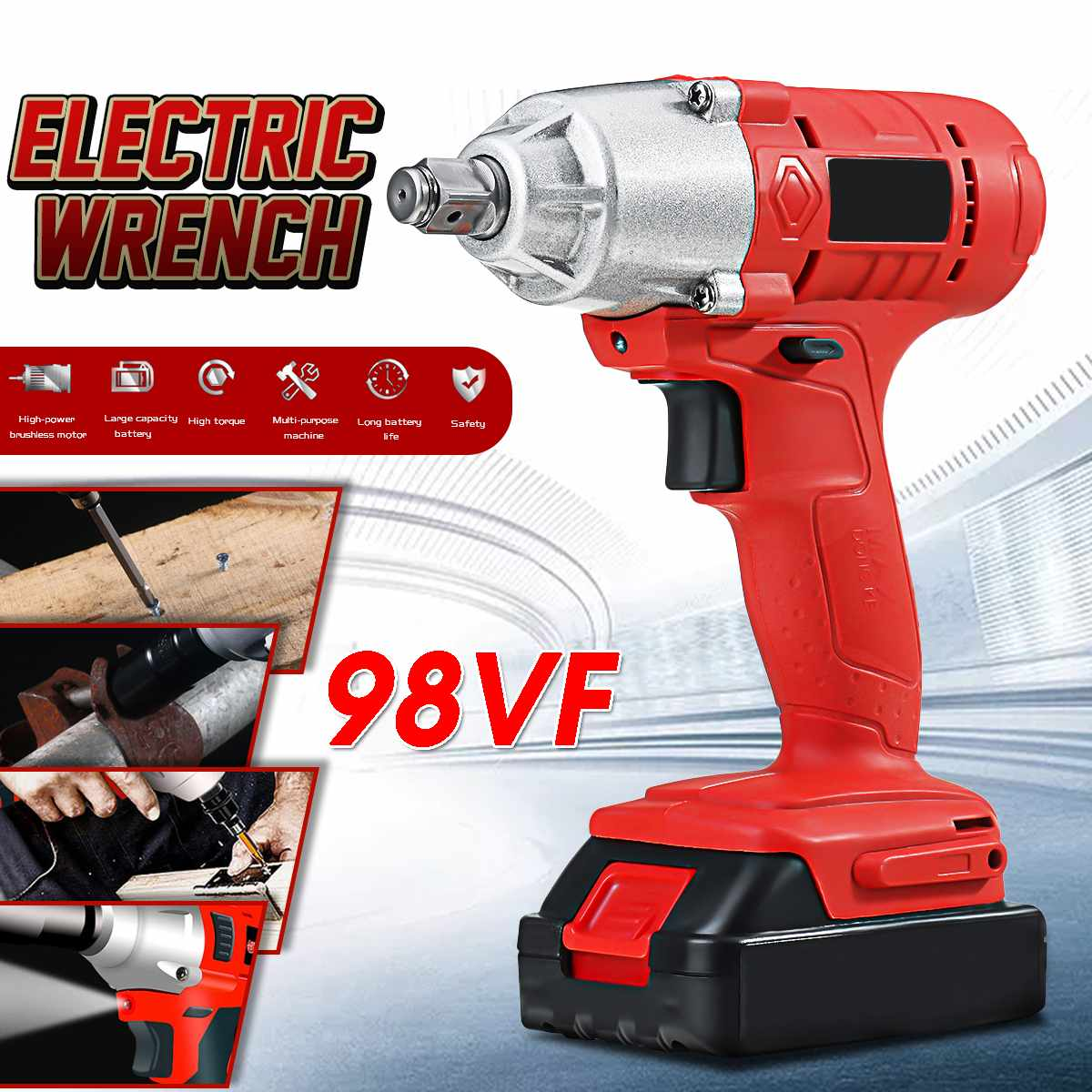 Doersupp 98VF Electric Wrench Car Repair Electric Drill Screwdriver High Efficiency Pressureless Motor W/Scattering LED Light