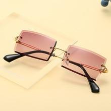 Rimless Rectangle Sunglasses Women Men 2020 Fashion Brand Sq