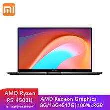 Xiaomi – pc portable RedmiBook 16, 512 pouces FHD, ordinateur pour jeux d'étudiants, AMD Ryzen 5 4500U, 8 go/16 go DDR4 + 16.1 go SSD, 100% sRGB