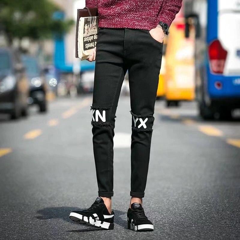 Summer Men'S Wear Teenager Knee Lettered Jeans Elasticity Slim Fit Capri Pants Men's Korean-style Skinny Jeans Fashion