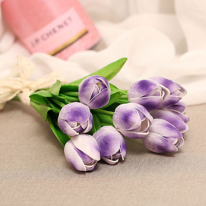 1PC Mini PU Tulips Artificial Flowers Real Touch Artificiales Para Decorar Mini Tulip For Home Wedding Desk Decoration Flowers