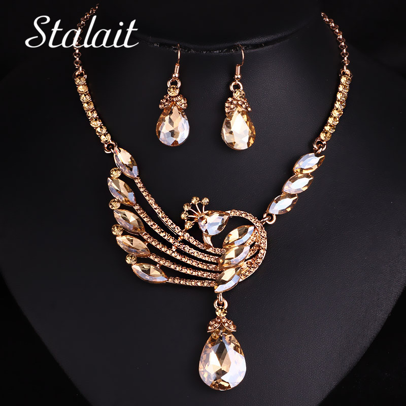Wedding Water Drop Crystal Peacock Gold Color Jewelry Set Women Bridal Crystal Drop Earring Necklace  Jewelry Accessories