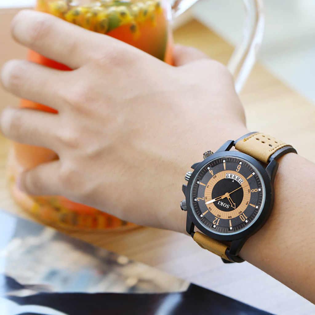 Olhar de Moda Mens Relógios Big Dial Calendário SOKI Relógio Dos Homens da Correia de Moda Matagal Relógio Militar Relogio masculino Esportivo