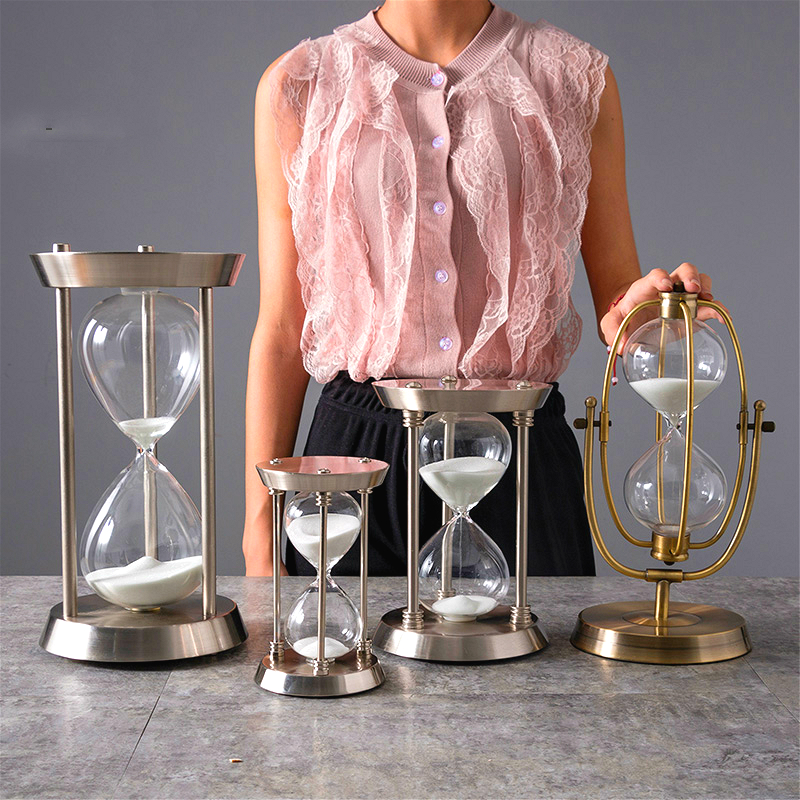 Retro Modern Type Metal Swivel/Fixed Sand Glass Sand Timer Clock Hourglass Arts And Crafts Study Bedroom Office Desk Room Decor
