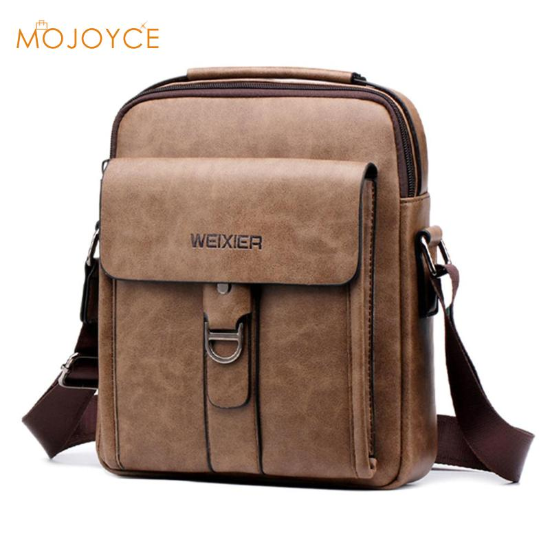 Solid Color Shoulder Bags For Male Fashion New Business Man Bag PU Leather Men Sports Casual Messenger Bags Multi-pocket Handbag