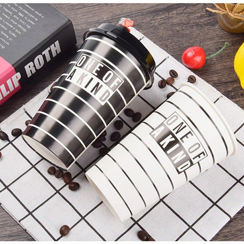 50pcs modèle créatif jetable tasse à café 400 ml/500 ml lait thé boisson jus froid boisson chaude tasse en papier épais avec couvercles