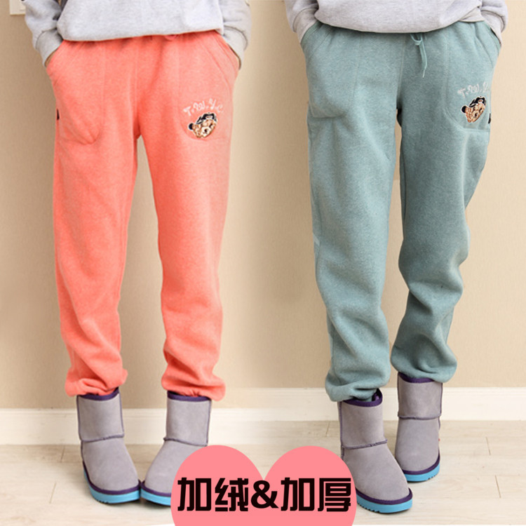 Women's Autumn And Winter Colored Cotton Fabric Bear Plus Velvet Athletic Pants Thick Casual Pants Large Size Loose-Fit Skinny S