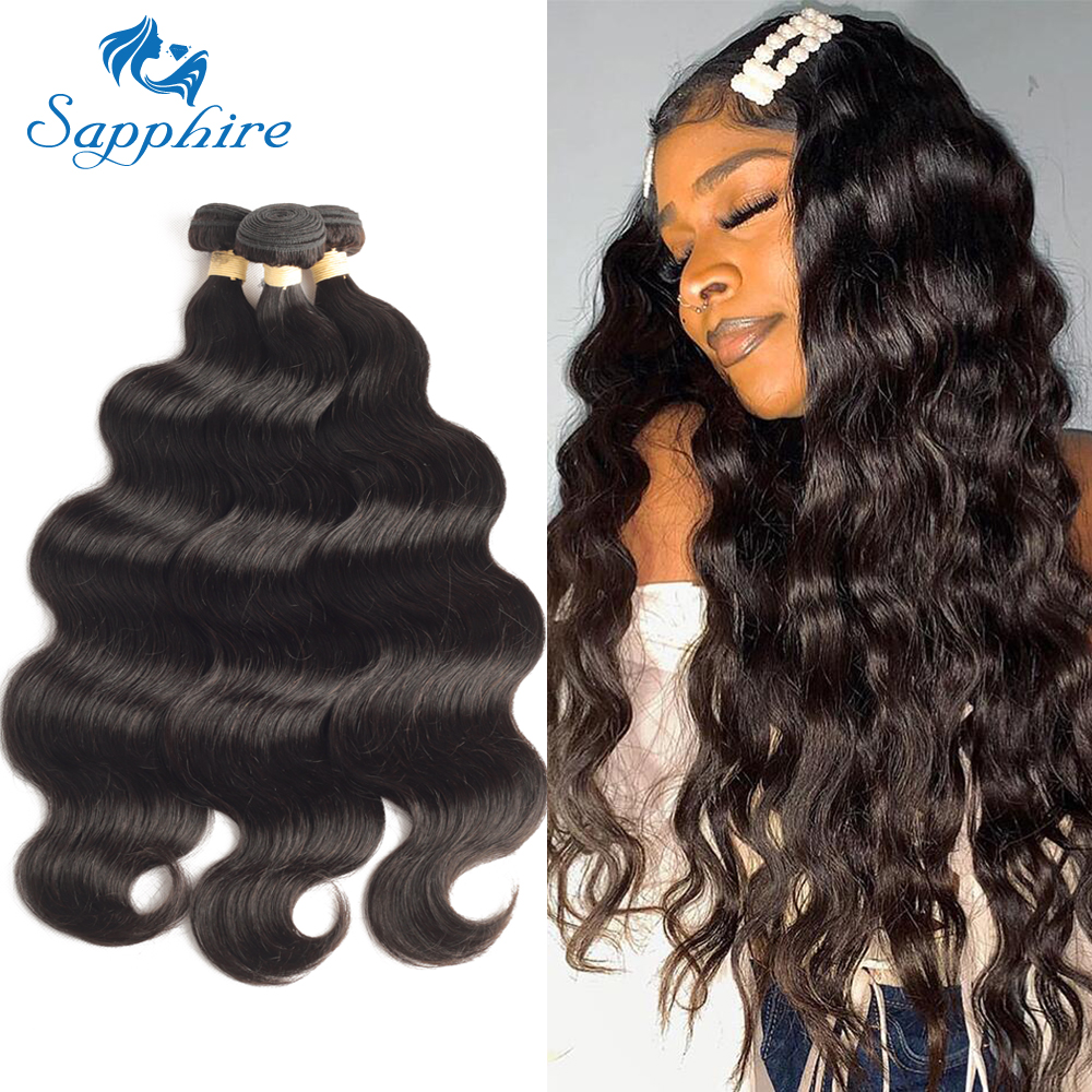 Sapphire HAIR Peruvian Body Wave Human Hair Bundles 100% Remy Hair Extension Natural Color 1/ 3/ 4 Bundles Thick Hair Weaves