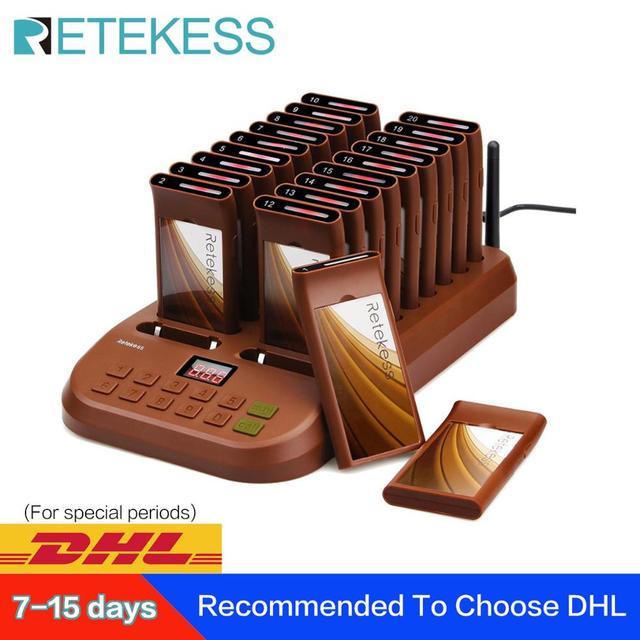 Retekess T116 レストランページャ無線ページングシステムポケットベルキューシステム顧客サービスレストラン教会カフェショップ