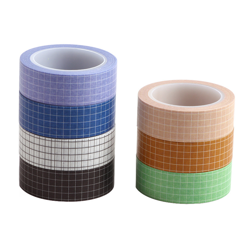 Basic Color Grid Paper Washi Tape Set 15mm Adhesive Masking Tapes Decoration Stickers For Journal Notebook Gift DIY Tools F939
