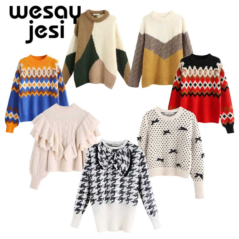 Autumn Sweaters Women Basic Office Lady Elegant Vintage Chic Sequins Knitting Pull Femme Sweaters Casual Sequins Women Pullovers