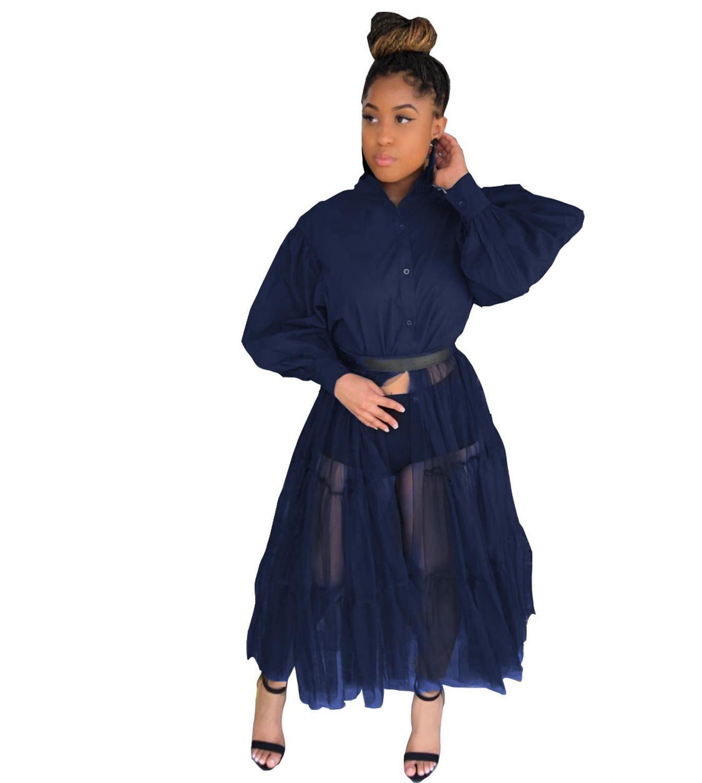 CN975 Fashion Shirt Style Button Gauze Dress Ladies Long Street Solid Color Dress Casual Home Commuting Dress Female Wholesale 11