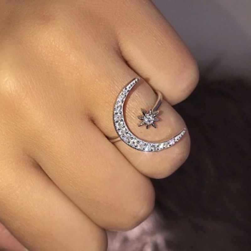 Joyería de fiesta blanca de plata con anillo de luna y estrella ajustable para mujer