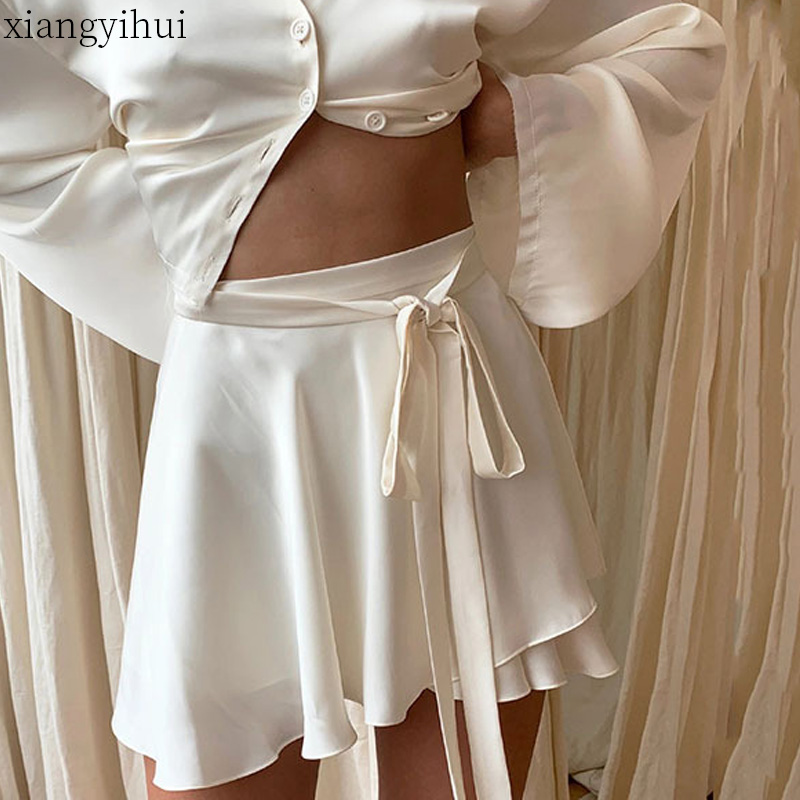 Summer Silk Mini Skirts White Satin Lace-up Skirt Women High Waist Asymmetric Loose Skirt Soft Comfortable Skirts Femme Bandage image
