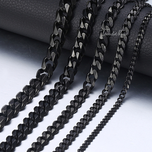 Men's Necklace Stainless Steel Cuban Link Chain Black Gold Necklaces For Men 18-36